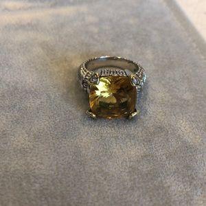 Judith Ripka Diamond & Canary Crystal Ring